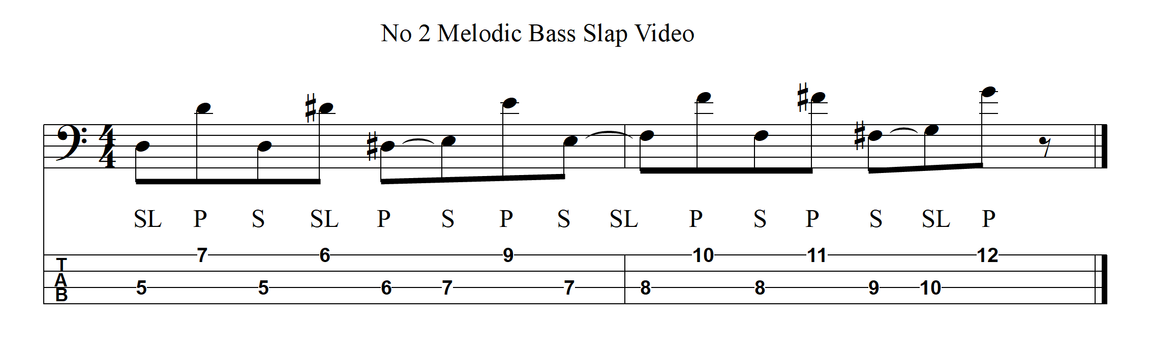 Melodic Slap Bass Example 12