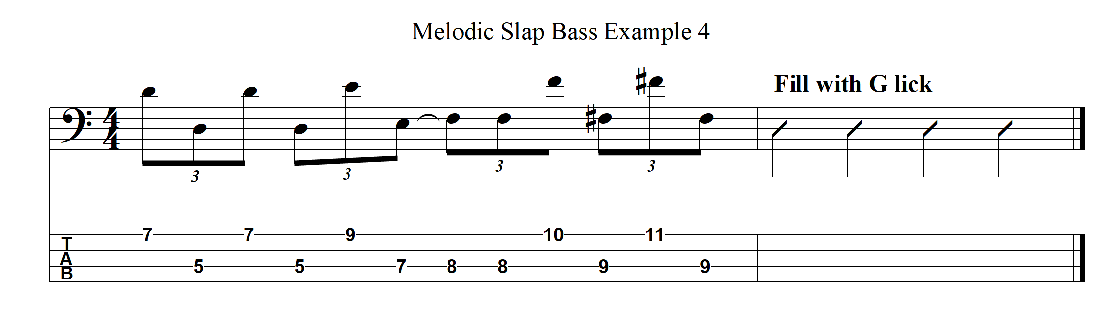 Melodic Slap Bass Example 4